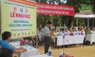 Công đoàn cơ sở Vườn quốc gia Bạch Mã tham gia giải bóng đá mi ni năm 2015 do Trung tâm Bảo tồn di tích cố đô Huế tổ chức
